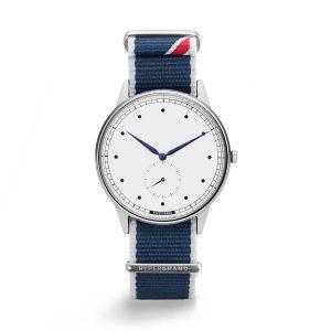 HYPERGRAND - SIGNATURE SW Straight Jacquard Blue/小秒針系列 - 銀白錶盤藍斜紋