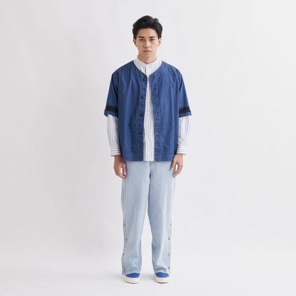 19SS - 水洗丹寧棒球襯衫