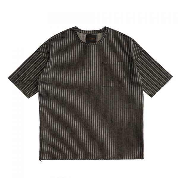 19SS - 四方彈直條紋T恤