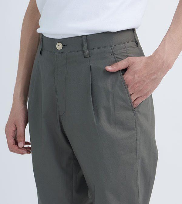 19SS - 防潑水高密棉質打摺長褲