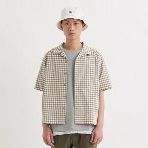19SS - 彈性格紋開領短袖襯衫
