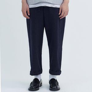 19SS - 和風粗織抽繩寬褲