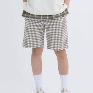 19 SS - 彈性格紋寬版短褲