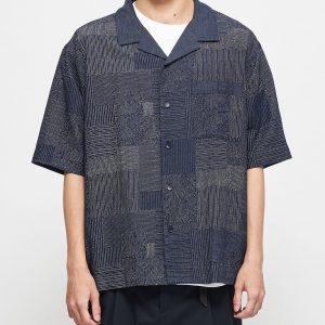 19SS - 拼接印刷開領短袖襯衫