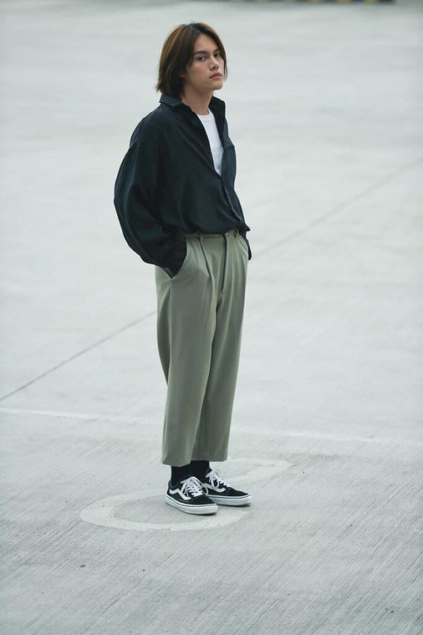 19SS - 鬆身落肩寬袖襯衫 (黑色)