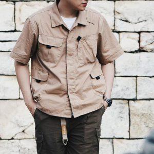 19SS ─ 多口袋工裝襯衫 (卡其色)