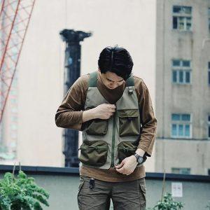 19SS ─ 機能多口袋背心 (卡其x橄欖綠)