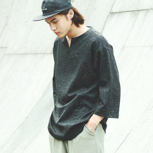 19SS - 圓領V字切口七分袖T恤