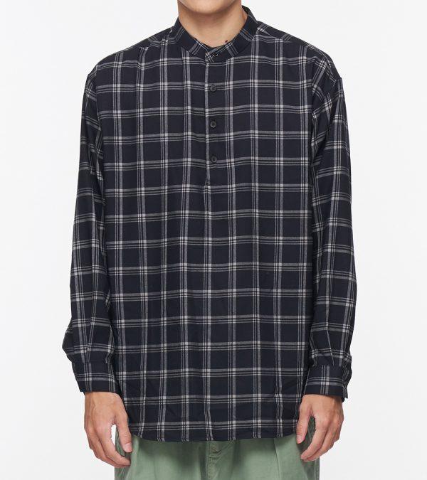 19AW - 輕薄格紋立領長版襯衫