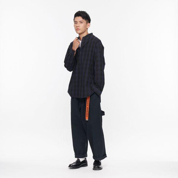 19AW - 高密格紋立領長版襯衫
