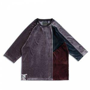 MACHISMO-絲絨三色剪接七分袖T恤