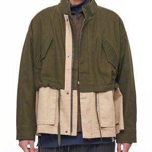 19AW - 斜紋棉質拼接軍風外套