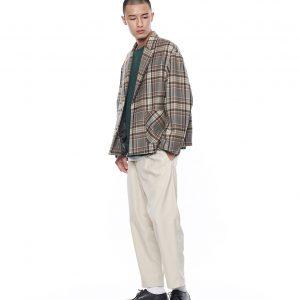 19AW - 格紋短版毛料外套