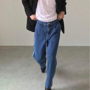 19AW - 側邊刷線牛仔褲