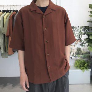 20SS - 垂墜感開領短袖襯衫