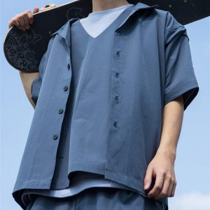 20SS - 吸濕快乾開領短袖襯衫