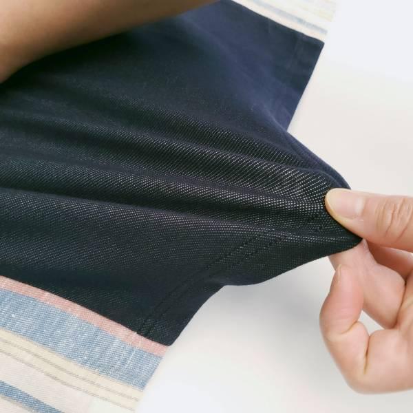 20SS - 棉蠶絲條紋剪接T恤
