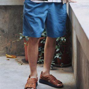 20SS - 棉麻抽繩寬版短褲