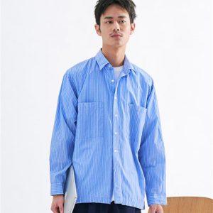 20SS - 條紋口袋寬版襯衫
